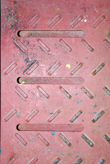 Red coloured sheet, (full frame), close-up, elevated view - AWDF00217
