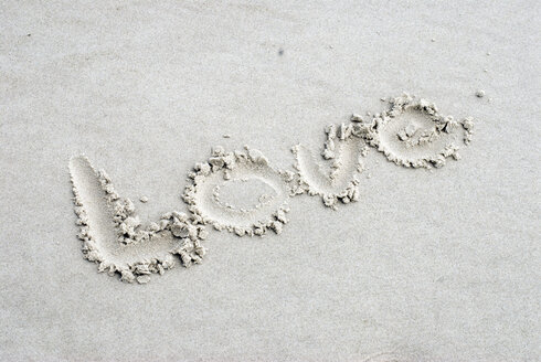 Germany, Amrum, The word Love written in sand - AWDF00091