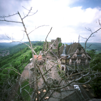 France, Alsace, Castle ruin, elevated view - AWD00307