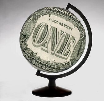 One dollar note forming  globe - TCF01144