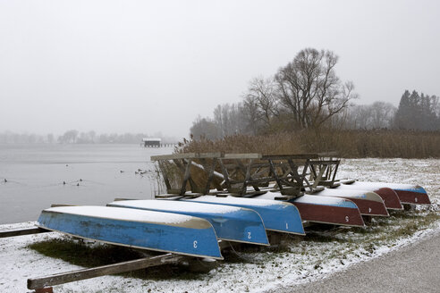 Germany, Bavaria, Lake Chiemsee, Boats on shore - FFF01042