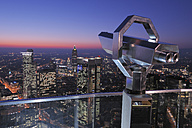 Germany, Frankfurt on the Main, Financial district, telescope in foreground - RUE00102