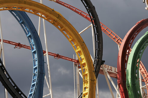 Germany, Hamburg, Fun fair, Roller coaster, close-up - TL00299