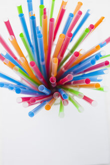 Multi coloured straws, elevated view - JRF00091