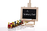 Chalkboard and wooden toy train, first day at school - 10819CS-U
