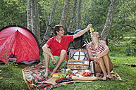 Austria, Salzburger Land, Couple having a picnic - HHF02899
