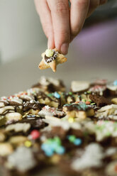 Christmas cookies, Hand holding cookie, close up - MFF00396