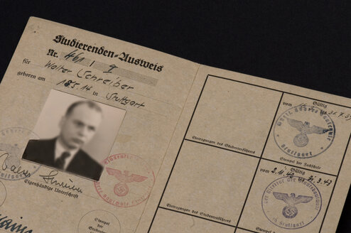 Germany, Old Student passport, close-up - AWD00380