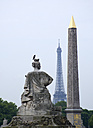 France, Paris, Place de la Concorde, Obelisk, Eiffel Tower in background - PSF00198