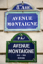 France, Paris, road sign, Avenue Montaigne, close up - PSF00189