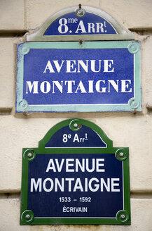 France, Paris, road sign, Avenue Montaigne, close up - PSF00189