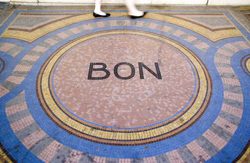 France, Paris, Mosaic tiling with writing