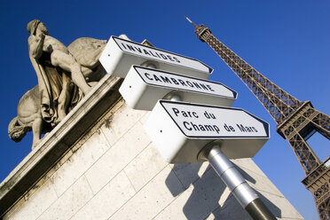 France, Paris, Pont d Lena, Sign posts, Eiffel Tower in background - PSF00153