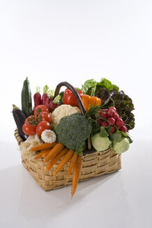 Variety of vegetables in basket, elevated view - WDF00504