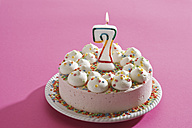 Birthday cake with burning candle - 11267CS-U
