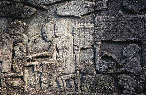 Cambodia, Siem Reap, Bayon Temple, relief carvings - PSF00303