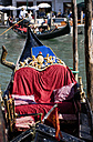 Italy, Venice, Gondola decoration, Gondolier in background - PSF00324