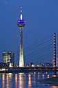 Germany, North-Rhine-Westphalia, Dusseldorf city skyline, view across Rhine - WDF00540