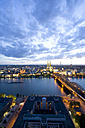 Germany, Cologne, Hohenzollern bridge and Cologne Cathedral, City view - WDF00534