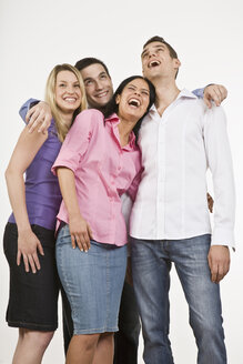 Group of people, embracing, laughing, portrait - LDF00743