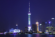 China, Shanghai, Pudong, Oriental Pearl TV Tower, at night - GW01016