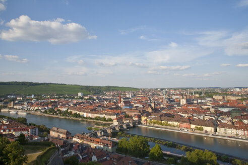 Germany, Bavaria, Franconia, Würzburg, View of the town, elevated view - WDF00598