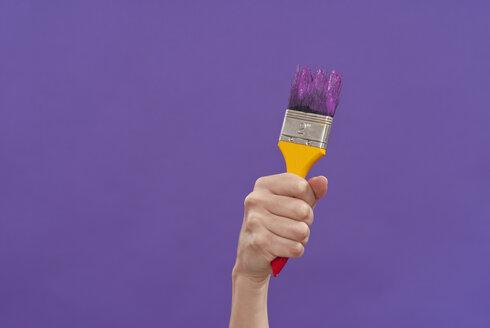 Hand holding paint brush, close-up - KJF00076