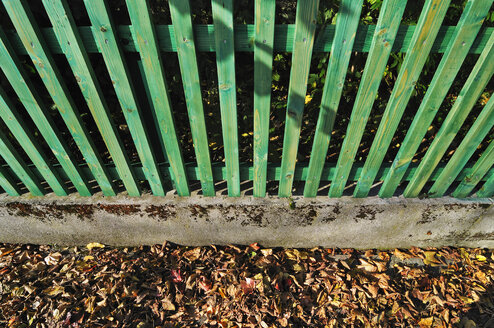 Germany, Bavaria, Green wooden fence and autumn leaves, elevated view - MBF00957
