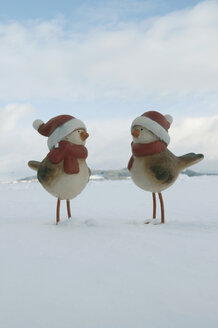 Clay ducks with santa hat standing in snow, wnter. - AWDF00495