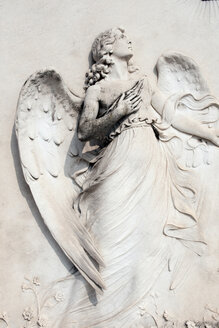 Italy, Venice, Graveyard, Statue of angel, close-up - AWD00484