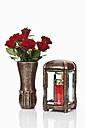 Grave Lantern, grave candle and bunch of red roses in flower vase - 12068CS-U