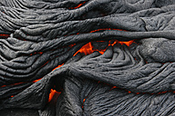 USA, Hawaii, Big Island, Pahoehoe volcano, burning lava flow, close up - RMF00388
