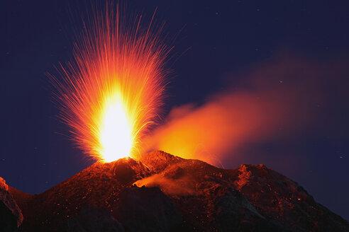 Italy, Sicily, Stromboli volcano erupting - RMF00361