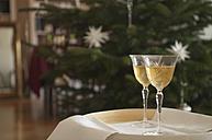 Wine glasses on table, close-up - NHF01217