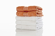 Stack of towels against white background - 12244CS-U