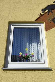 Germany, Munich, Window with flower vase - MBF00964