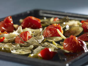 Mediterranean roasted vegetables, close-up - SRSF00044