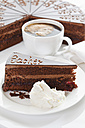 Close up of sacher cake slice and whipped cream in plate with coffee cup - 13342CS-U