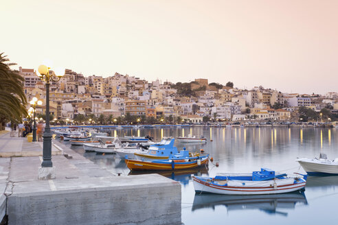 Greece, Crete, Sitia, View of harbour with city in background - MSF02386