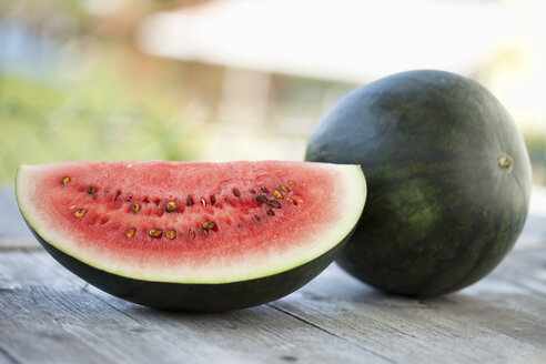 Close up of water melon on wood - MAEF002382