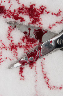 Germany, Close up of scissor with blood in snowy winter - AWDF000600