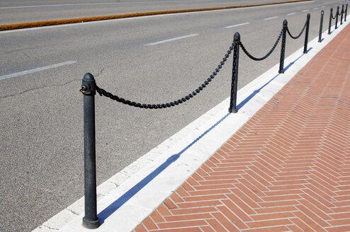 Italy, Sardinia, Cagliari, Chain barier on street - LRF000510