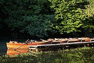 Europe, Croatia, Jezera, Row of boats moored in lake - FOF002268