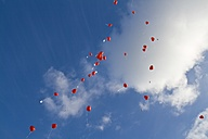 Germany, Red heart shape balloons with messages in sky - HKF000288