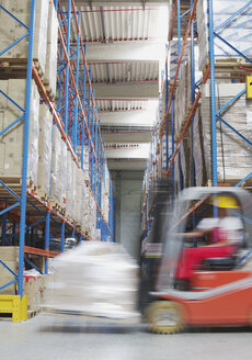 Italy, Chiajna, Young man driving forklift truck in warehouse - WBF000014