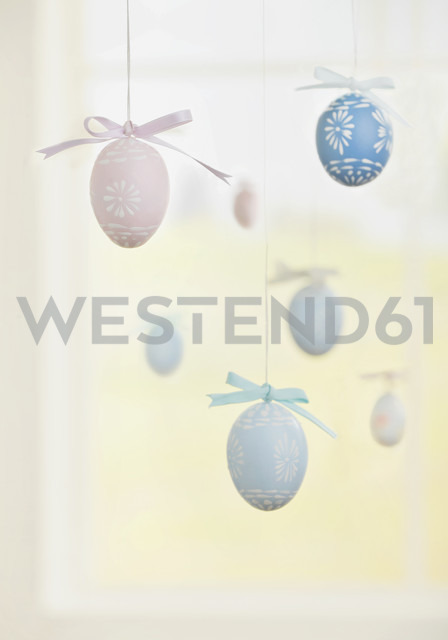 Easter eggs hanging by string - WBF000230