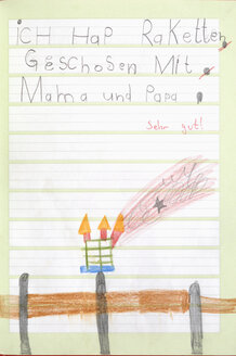 Germany, Munich, Child's drawing in exercise book - CRF001959