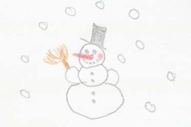 Germany, Munich, Child's drawing of snowman in exercise book - CRF001948