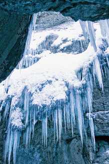 Germany, Bavaria, Garmisch-Partenkirchen, View of ice icicles - RNF000564