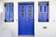 Greece, Cyclades, Thira, Santorini, Closed blue doors with windows - FOF002834